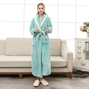 2018 Lovers Women Man Winter Kimono Bathrobe Thick Warm Robe Gown Fleece Bathrobe Long Sleeve Sleepwear Nightwear