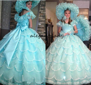 Vintage 19th Southen Belle Vestidos Quinceanera Ball Gowns 2018 Turquesa Azalea Trail Vestido de sirvienta Sweet 16 Vestidos Prom Party Pageant