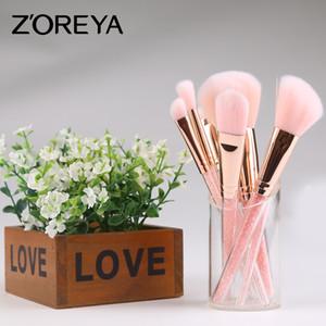 Set de brochas de maquillaje en caliente 7 piezas ZOERYA Flow con brocha para maquillaje profesional con bolsa rosa