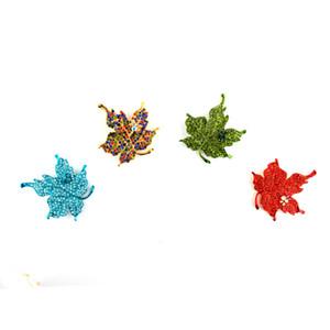 Multi Cor Maple Leaf Broche Retro Rhinestone Maple Leaf Pin Planta Bijuteria Corsage Para As Mulheres