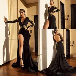 Vestidos de baile 2019 Vestido de Noite Formal Pageant Vestidos de Festa Africano Sem Encosto de Ouro Lace Alta Dividir Manga Longa Menina Negra Barato