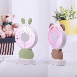 2018 Livraison gratuite fan pratique Linglong Rabbit et Damo ours ventilateur portatif a mené l'éclairage mince mini ventilateur usb