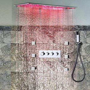 Bathroom Faucet Sets Ceiling Large Rainfall Shower System Led Shower Faucets 500 x 1000 MM Massage Body Spray Jets
