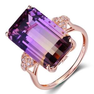 Gioielli da donna di lusso Creati Mystic Rainbow Topaz Crystal Princess Cut Argento placcato oro rosa 18 carati Diamante Anello nuziale Taglia 6-10 AB 1368