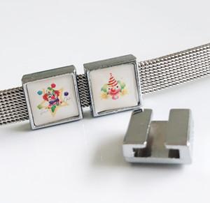 10 pcs 8mm plástico palhaço impressão quadrado encantos de slides beads diy acessórios fit 8mm cintos de colarinho pulseiras