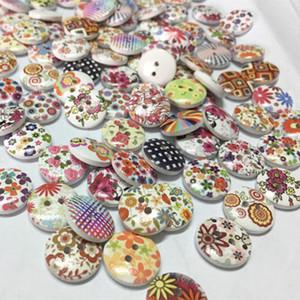 100 unids flor mezclada al azar pintura ronda 2 agujeros de madera botones de madera para costura costura 15 mm