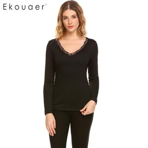Ekouaer Donna Calda Biancheria intima Top Casual Scollo a V Manica lunga Pizzo posteriore Patchwork Vita attillata Solid Sleep Top Thermal Long Johns