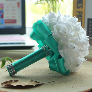 Mint Handmade Bridesmaid Wedding Decoration Foam Flowers Rose Bridal Bridemaid Wedding bouquet Satin Romantic Wedding bouquet cpa1580