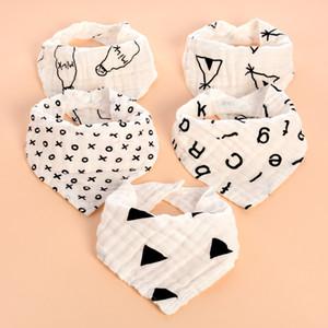INS детские нагрудники Двойная кнопка-кнопка треугольник из хлопка Полотенце слюны Baby Kids Infants 4 слоя марли, промытые водным банным полотенцем