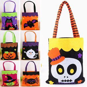Halloween non-tissé sacs fantôme bonbon cadeau wrap sacs pour fantôme citrouille araignée crâne poignée sac fête de noël halloween décoration hh7-1353