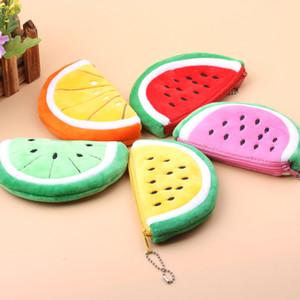 Free shipping 5 Cartoon Plush toys High capacity Psp package toys Pencil case Coin Purse Girl lovely Cloth Watermelon shape zipper wallet