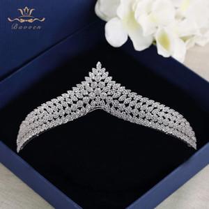Bavoen novias de calidad superior Clear Zircon hairbands coronas de cristal de plata tiara boda accesorios para el cabello X912