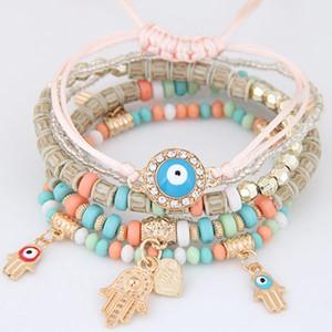 Encantos Cábala Fátima Mano de Hamsa del ojo malvado de los brazaletes de múltiples capas de granos hechos a mano Pulseras trenzadas para las mujeres de los hombres