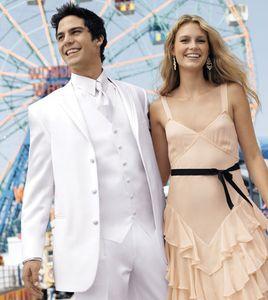 White Wedding Men Suits Groom Tuxedos 3 Pieces (Jacket+Pants+Vest) Bridegroom Set Best Man Prom Wear Blazer