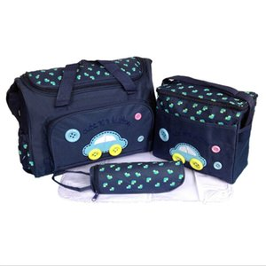 37*16*28CM 4pcs Baby Diaper Bag Suits For Mom Baby Bottle Holder Travel Outdoor Mother Mummy Stroller Maternity Nappy Bags Sets