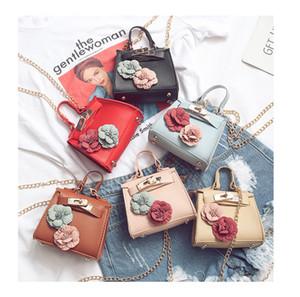 Gilrs Fiore 3D Handbag PU con catena in metallo Bambino Accessori per Boutique ragazze Mini Cross corpo di trucco dei sacchetti