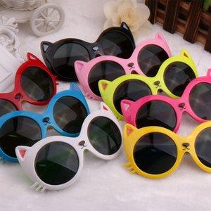 New kids cat óculos de sol dos miúdos dos desenhos animados em volta do olho de gato óculos de sol óculos de proteção UV para as crianças T2C050