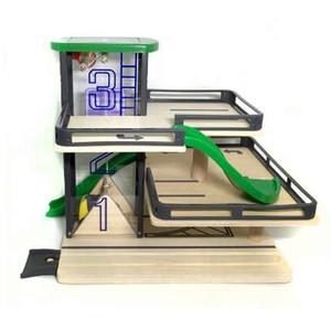 Elevadores de pista de carros Estacionamento de pista de madeira compatível com Thomas e Brio Trens de trem de madeira Brinquedos de deslizamento manual de mão para crianças