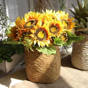 Yapay Çiçek Süslemeleri demet 7 Kafaları Güzellik Sahte Ayçiçeği Yapay İpek Çiçek Buketi Ev Dekorasyon
