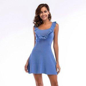 Frauen US EUR Große Yard Slim Fit Hohe Taille Strickweste Kleid A-Linie Mini Dame Kleid Sommer Tägliche Kleidung