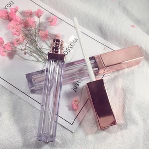 Botella de brillo de labios de 4 ml con tapa de oro rosa, tubo de brillo de labios vacío, contenedor de embalaje de alto brillo de brillo de labios DIY envío rápido F159
