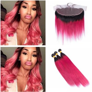 Rose Red Straight Human Hair With Lace Frontal Dark Root Ombre Lace Frontal With Bundles Silky Straight Human Hair Weaves