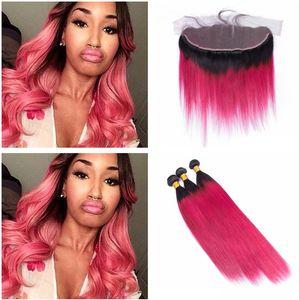 Роза Красных Straight человеческих волос с кружевом Фронтальной Dark Root Ombre Lace фронтальных пачками Silky Straight переплетениями человеческих волос