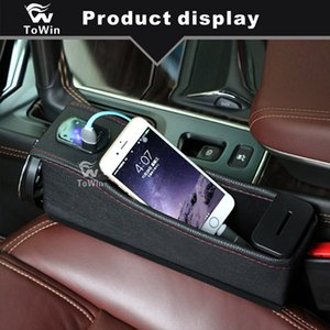 Organizador de coche multifuncional Caja de almacenamiento con interfaz USB doble Carga Auto Interior Accesorios Stowing Tidying Box Portavasos