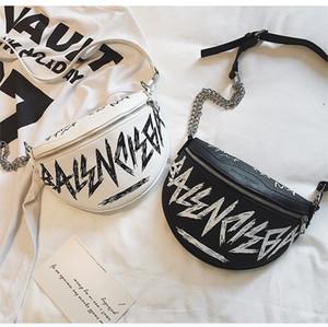 Bolso estilo punk rocker femenino bolso de pecho estampado joker de moda ins supercaliente pequeñas mujeres con un solo hombro colgado sobre la cintura