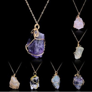 5 colori fatti a mano irregolare ametista citrino filo avvolto collana pendente donne pietra naturale cristallo quarzo fluorite collane gioielli
