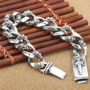 Big Espada Bracelet tendência nova pulseira masculina atacado S925 Sterling Silver jóia personalizada retro tailandês prata