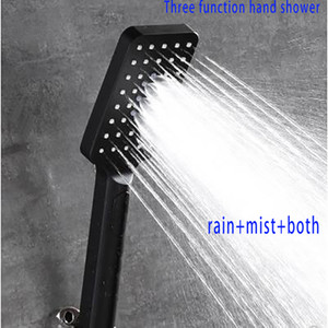 좋은 품질 3 기능 유연한 고압 비와 안개 믹서 핸드 샤워 매트 블랙 욕실 샤워 헤드