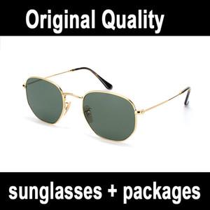 Lunettes de soleil Hexagonal lunettes de soleil de lentille en verre plat G15 nuances hommes rayons UV400 femmes lunettes de soleil avec tous les emballages d'origine, accessoires