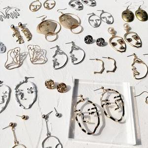 Oco rosto minimalista contour brincos engraçado divertido palma da máscara abstrata brincos brincos femininos Dangle acessórios de jóias