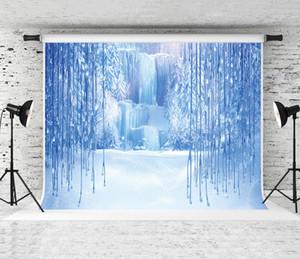 Hiver Frozen Noël Toile de fond 7x5ft bleu neige glace pendentif en cristal Photographie du monde de fond pour les enfants de fête d'anniversaire Séance photo