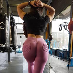 Sexy Push Up Fitness Leggings Mujeres Pantalones de mujer Cintura alta Leggins Entrenamiento de caramelo Color Leggings Pockets S-XL para mujeres Venta caliente