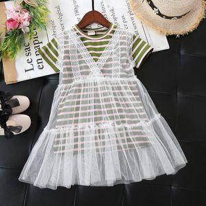 2018 여름 소녀 투피스 드레스 베이비 키즈 반팔 줄무늬 롱 탑 화이트 레이스 드레스 어린이 스위트 드레스 3930