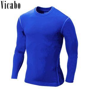 Vicabo мужчины сжатия рубашка 2018 быстрая сушка O-образным вырезом с длинным рукавом футболки твердые фитнес тонкий рубашки