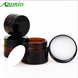5PCS Amber Glass Jar Pot Cosmetic Container Empty Refillable Bole Black Cap Travel Packing Skin Care Cream S067B