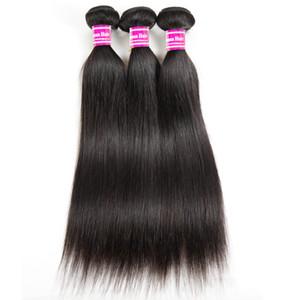 Дешевые бразильские Виргинские волосы шелковистые прямые человеческие волосы ткать пучки 8А класс необработанные перуанский Индийский Малайзии Девы волос Утков