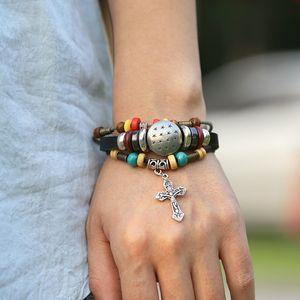 Cross Leather Bracelets Bead Charm Bracelets Vintage Jewelry Cross I Love Jesus Church Jewelry Gifts Valentine's Day Gift