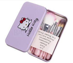 7 Unids / set Hello Kitty Pinceles de Maquillaje Cosméticos Kit de maquillaje Cepillos Estuche de Hierro Rosado / Artículos de Belleza Utensilios de Belleza Herramientas de Alta Calidad