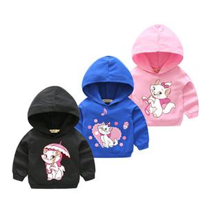 2018 roupa menina Primavera Outdoor capuz For Kids manga comprida com capuz bebê 100% algodão Hoodies Crianças Marie Gato Moletons
