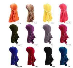 Nouveaux Hommes Femmes Bandana Velours Turban Chapeau Durag Hip Hop Chapeaux Headscarf longue queue headwrap Crâne Cap Pirate Chapeau Pour Hommes Et Femmes 12 Couleurs