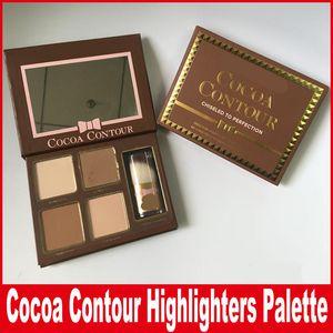 Nuevo maquillaje COCOA Contour Kit 4 colores Bronceadores Highlighters Powder Palette Color desnudo Shimmer Stick Cosmetics Chocolate sombra de ojos con pincel
