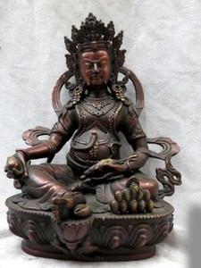 Ince Kırmızı bronz heykel Çin budizm bakır Sarı Jambhala buda Statuea Heykeli