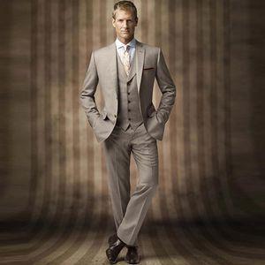 Khaki Wedding Men Suits 2019 Slim Fit Bridegroom Suits 3 Pieces (Jacket+Pants+Vest) Groom Tuxedos Best Man Blazer