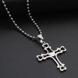1 aço inoxidável multicamadas oco amor Cruz do coração Colar Cruz Fé colar coração Religião Jesus Cruz Titanium Aço