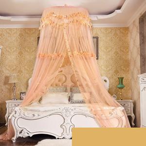 Coreano estilo Hung Dome Mosquito Net para cama de casal malha fina Canopy Bed com cortina decoração do quarto Mosquito Cama malha Net