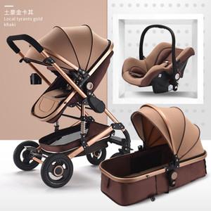 Poussette de bébé multifonctionnelle 3 en 1 Cadre en alliage d'aluminium Haute Paysage bébé poussette Livraison gratuite
